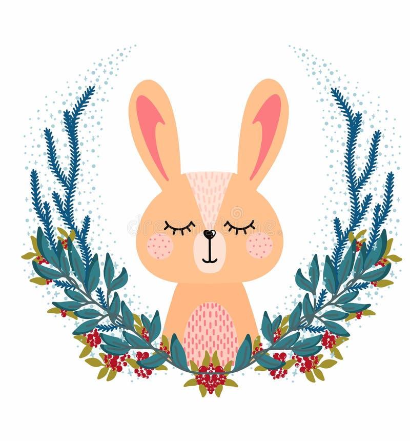 Głowa królika w okrągłej ramie obraz stock