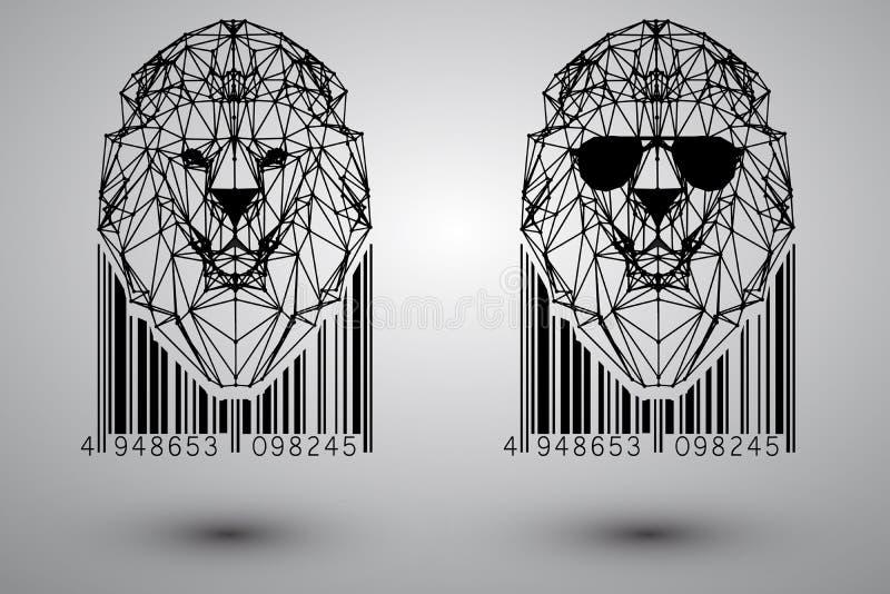Głowa lew od trójboków, linii i kropek z barcode, ilustracja wektor