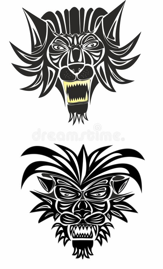 Głowa lew w czarny i biały ilustracji
