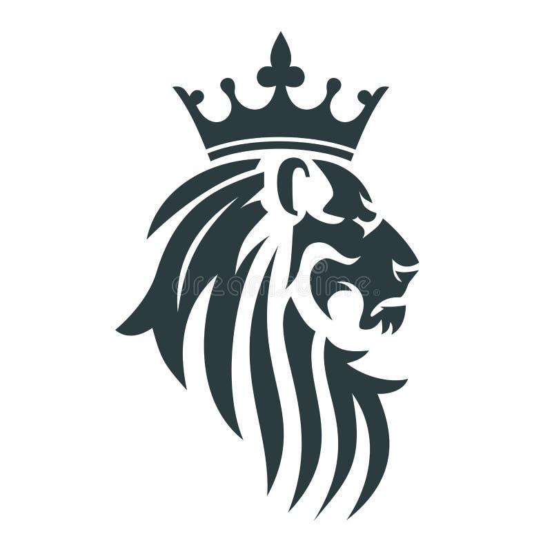 Głowa lew z królewską koroną royalty ilustracja