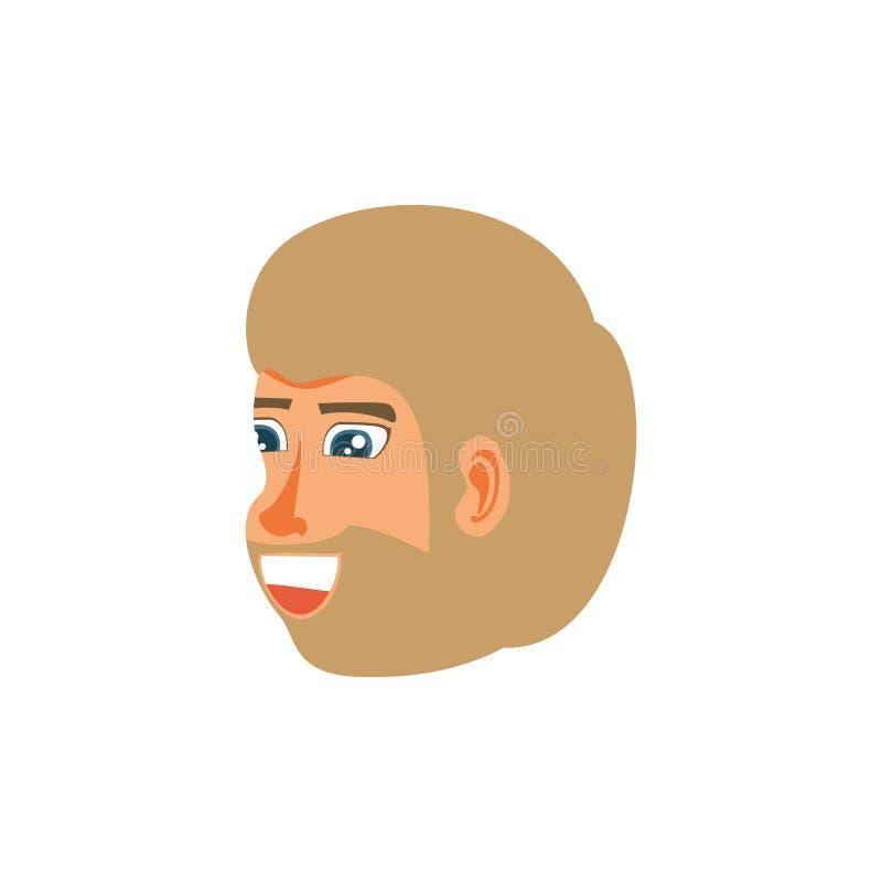 Głowa mężczyzn blondyny z brodą ilustracja wektor