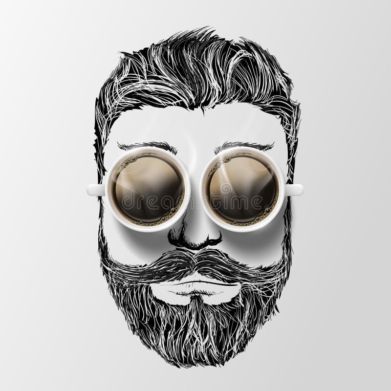 Głowa mężczyzna z wąsy, brodą i kawą, Modnisia styl royalty ilustracja
