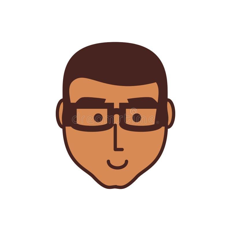 Głowa młodego człowieka czerń z eyeglasses royalty ilustracja