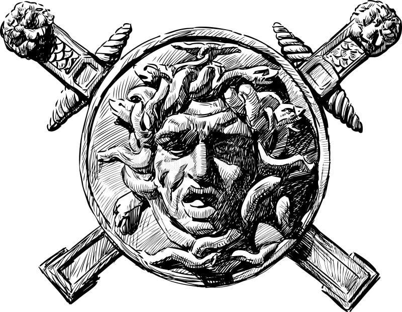 Głowa meduza Gorgona ilustracji