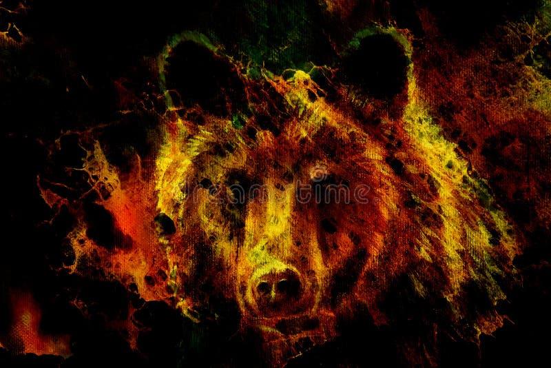 Głowa możny brown niedźwiedź, obraz olejny na brezentowym i graficznym kolażu Kontakt wzrokowy ilustracja wektor