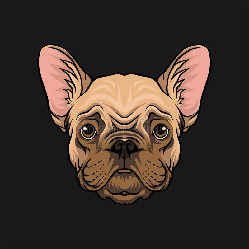 Głowa mopsa pies, twarz zwierzęcia domowego zwierzęcia ręka rysująca wektorowa ilustracja royalty ilustracja