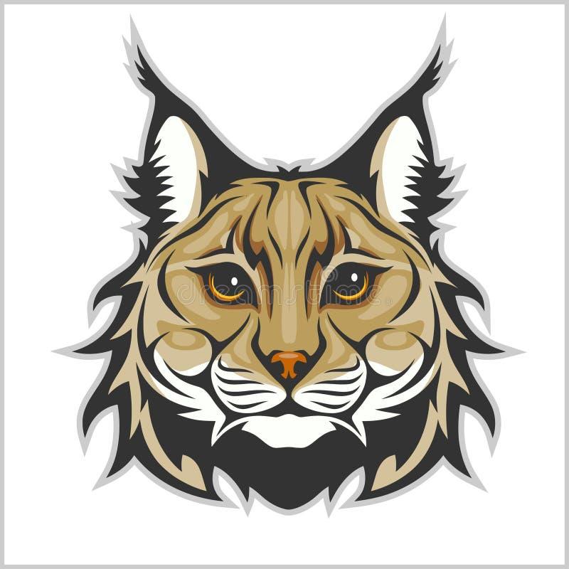 Głowa odizolowywająca na bielu ryś - maskotka logo royalty ilustracja