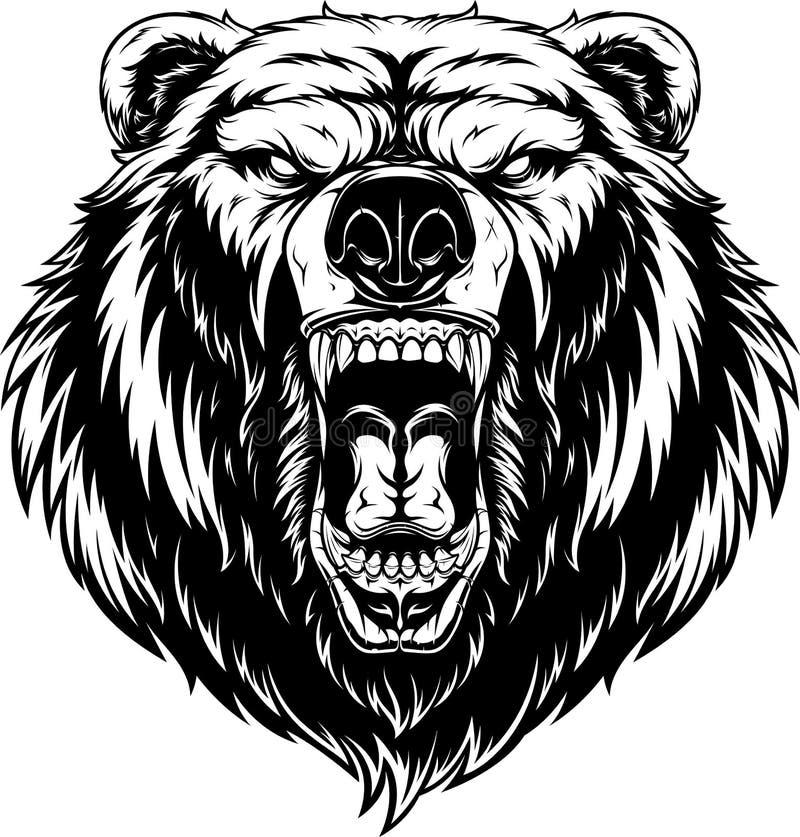 Głowa okrutnie niedźwiedź ilustracja wektor