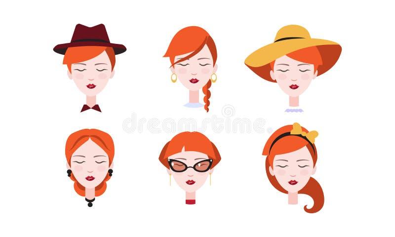 Głowa piękna rudzielec dziewczyna z zamkniętymi oczami ustawia, różni typ żeńskie fryzury i pióropusze wektorowi ilustracji