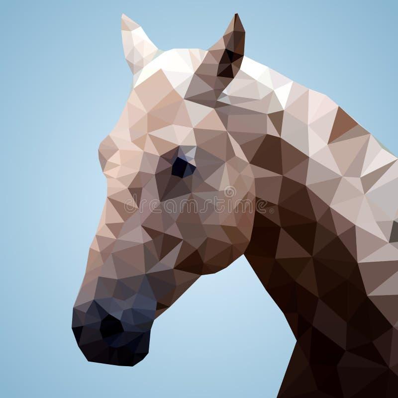 Głowa podpalany koń w trójgraniastym stylu ilustracji
