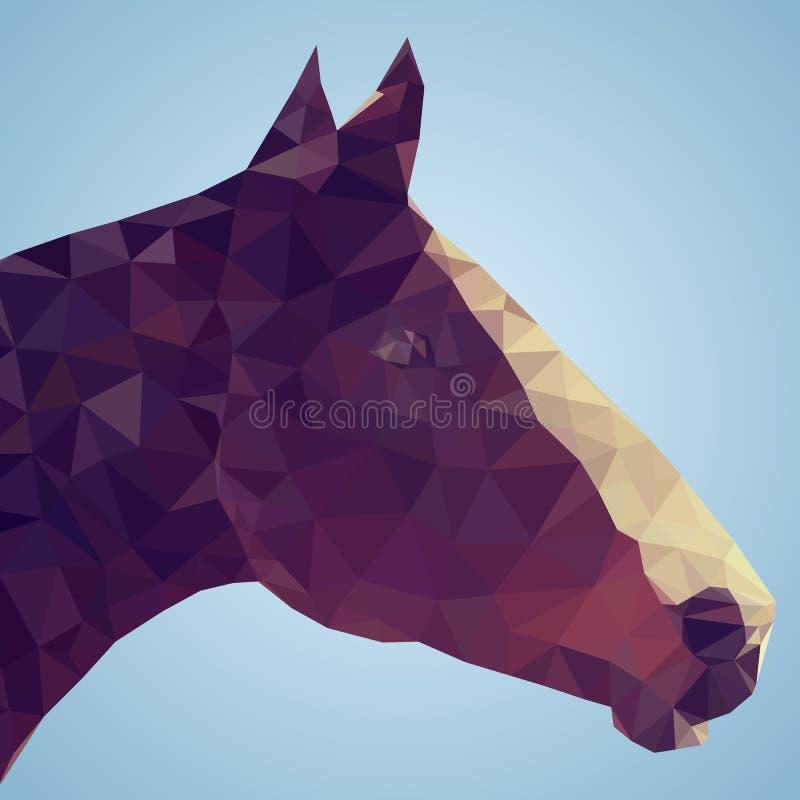 Głowa podpalany koń w trójgraniastym stylu royalty ilustracja