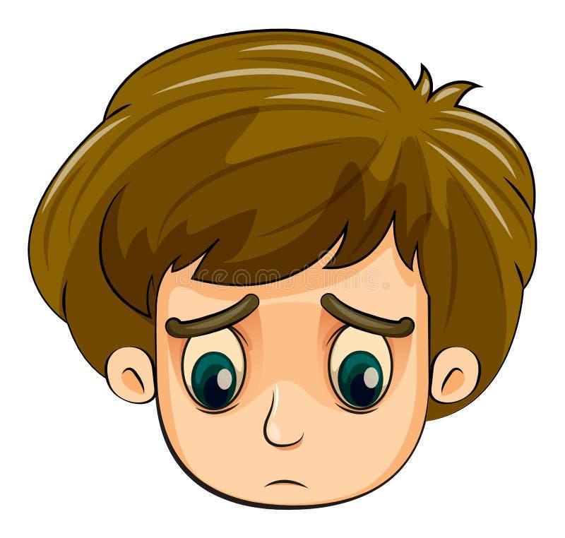 Głowa smutna młoda chłopiec royalty ilustracja