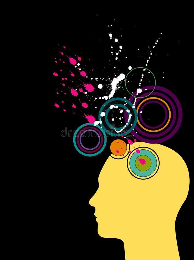 głowa sylwetek splatters ilustracja wektor