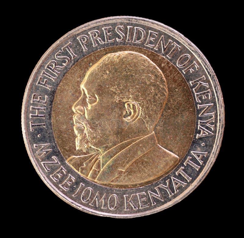 Głowa 20 szylingów moneta, wypuszczona Kenja w 2005, przedstawiający portret Pierwszy prezydent zdjęcie royalty free