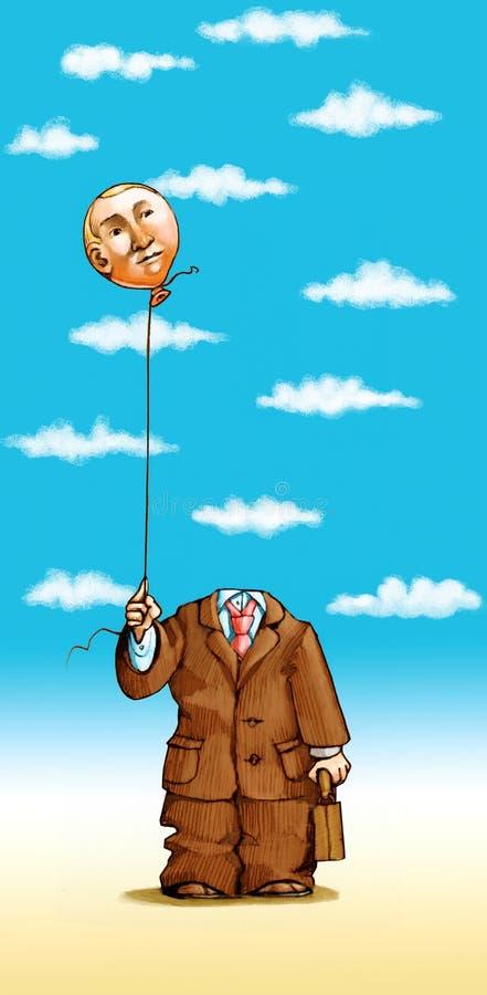 Głowa w chmurach royalty ilustracja