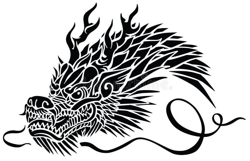 Głowa Wschodni smok Czarny i biały tatuaż ilustracji
