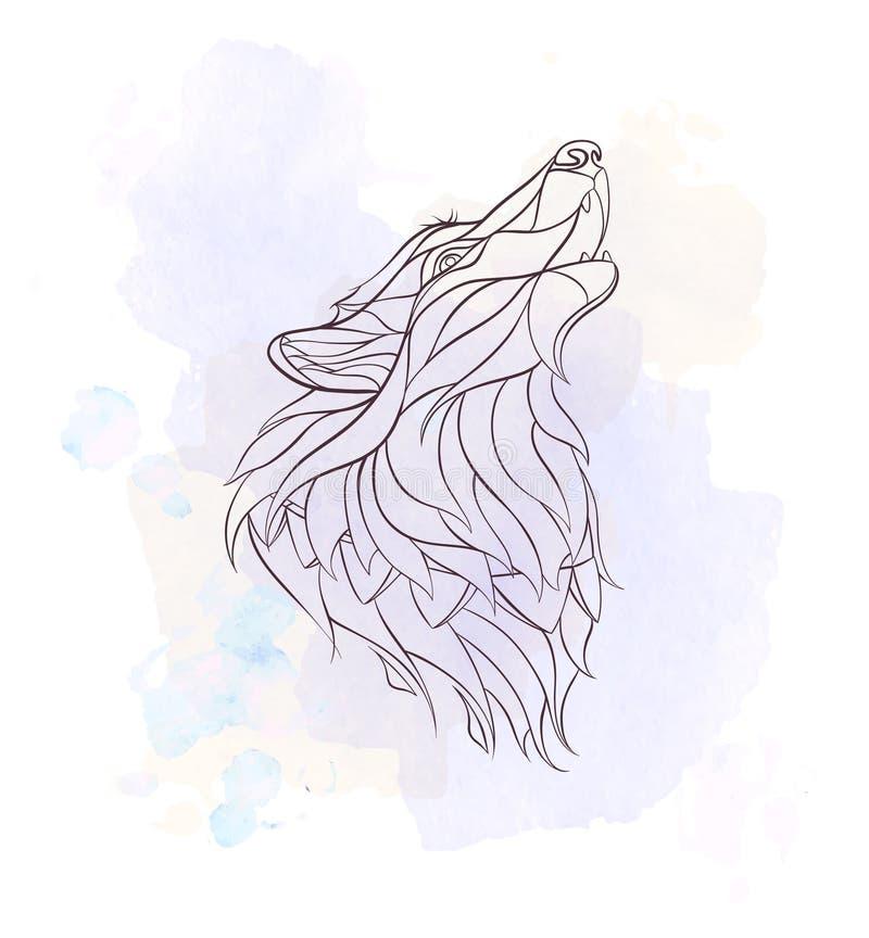 Głowa wyć wilk ilustracja wektor
