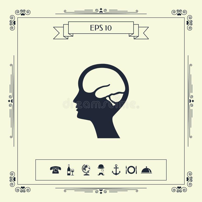 Głowa z móżdżkową symbol ikoną royalty ilustracja