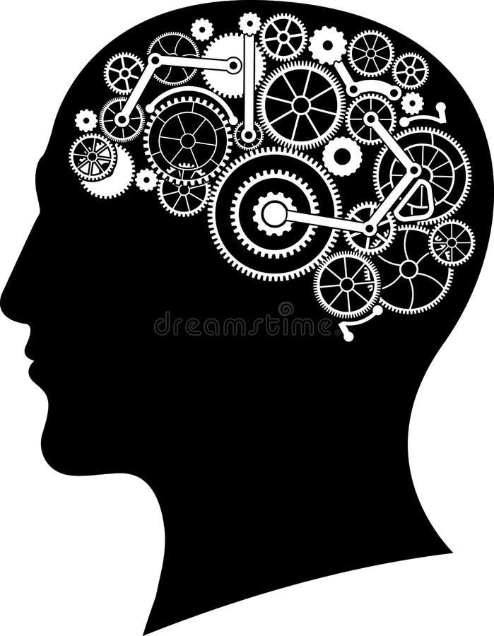 Głowa z przekładnia mózg ilustracja wektor