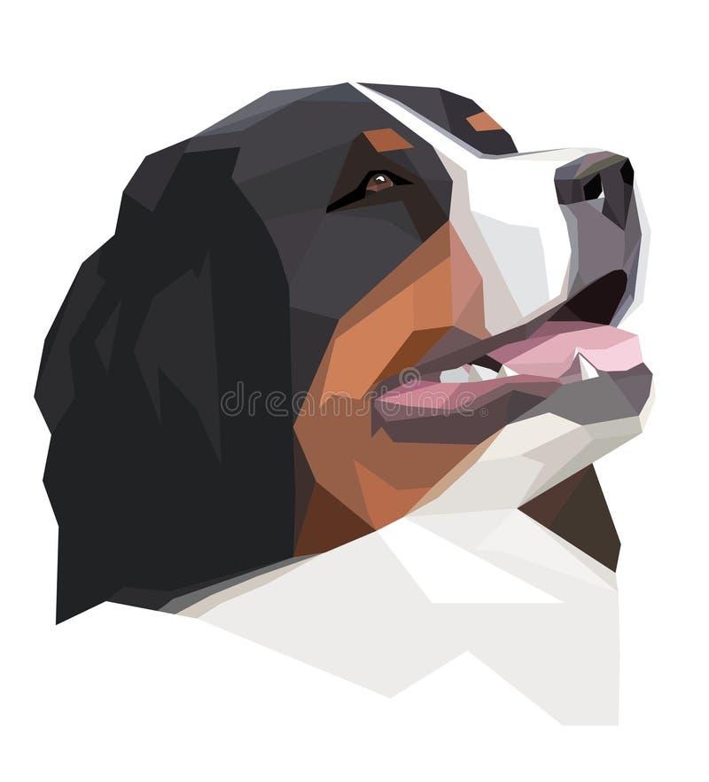 Głowy Bernese góry pies w geometrycznym stylu royalty ilustracja