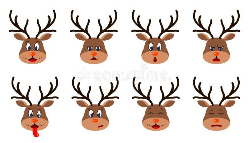 Głowy jelenia z różnymi emocjami - Uśmiechnięcie, Smutne, Gniew, Agresja, senność, zmęczenie, Malice, Strach ilustracji