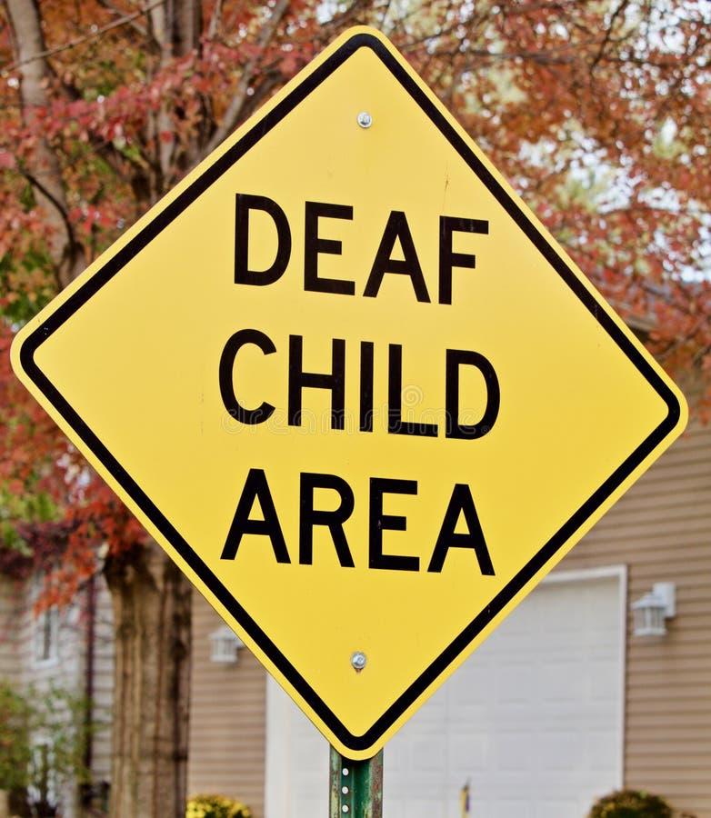 Głuchy dziecko znak ostrzegawczy obraz stock