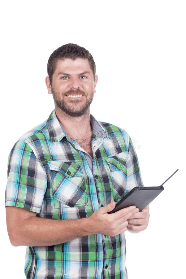 Głuchy mężczyzna z czytelnikiem zdjęcia royalty free