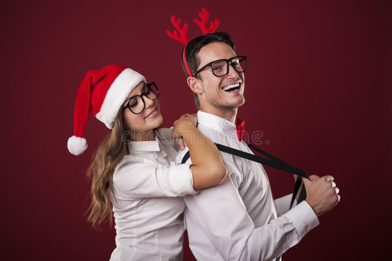 Głupka mężczyzna z jego dziewczyną obrazy stock