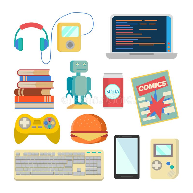 Głupka rzecz Ustawiający wektor Fajtłap akcesoria Hełmofony, gracz, laptop, robot, zabawka, telefon, klawiatura, Tetris, komiczki royalty ilustracja