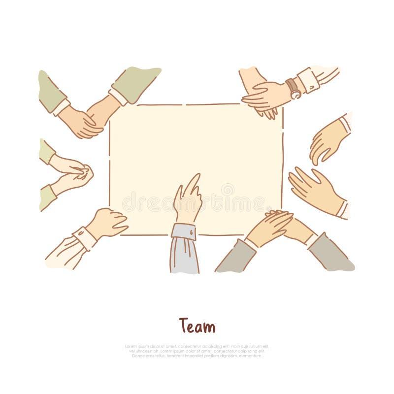 Głusi niemi ludzie komunikacji, ręki pokazuje gesty, współpraca, szyldowy językowej edukacji sztandar royalty ilustracja