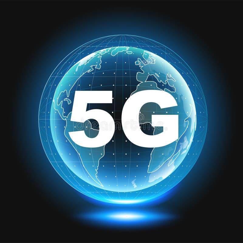 5G传染媒介象 第5一代无线互联网连接信息技术例证 移动设备 皇族释放例证