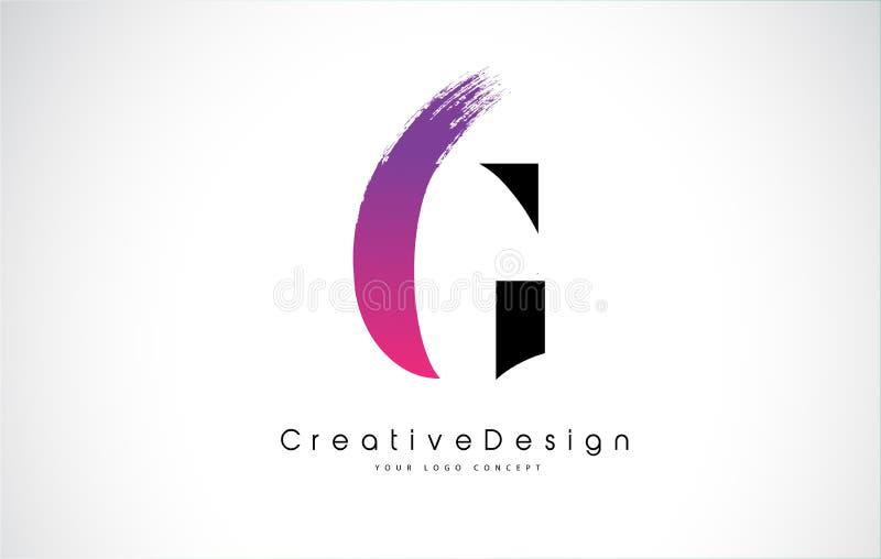 G信件与创造性的桃红色紫色刷子冲程的商标设计 库存例证