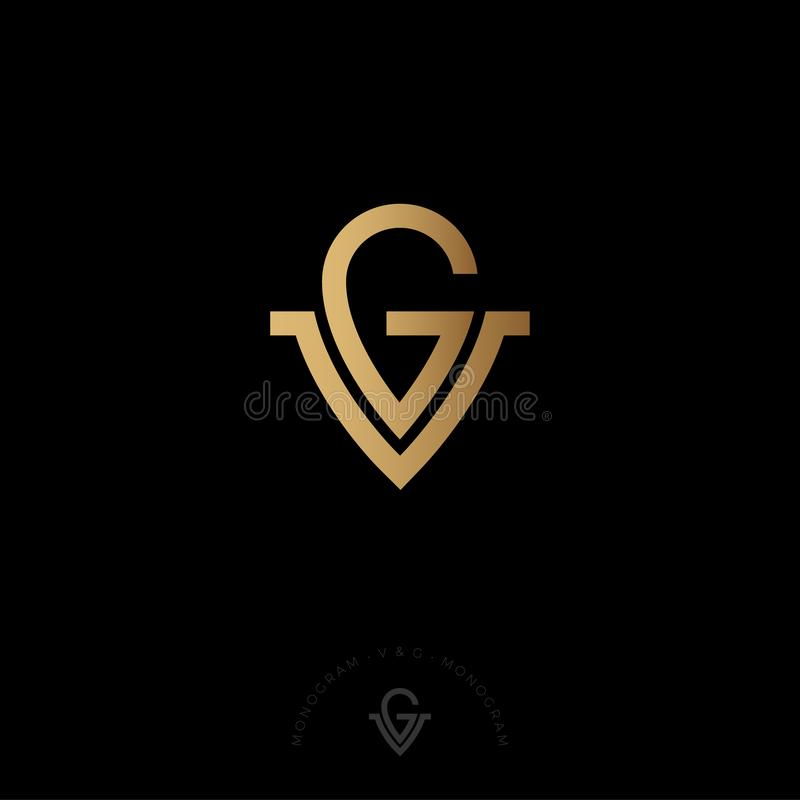 G和V信件 G, V商标 皇家首饰象征 错觉金组合图案 在黑暗的背景的金子商标 皇族释放例证