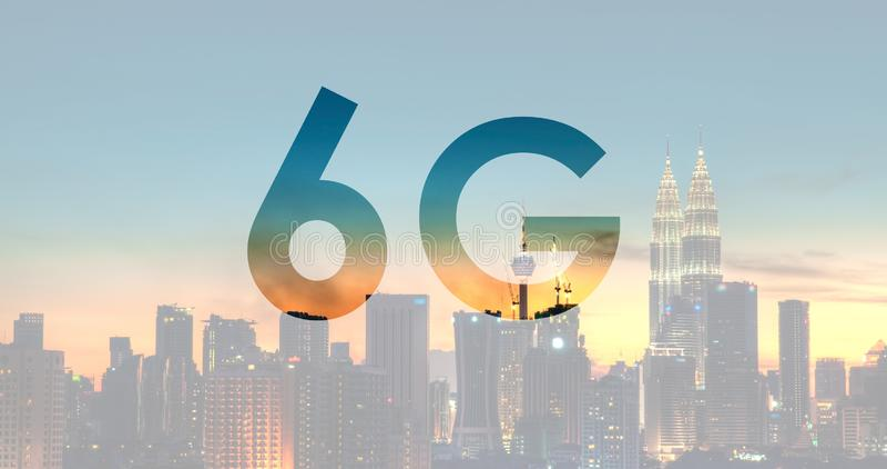 6G在吉隆坡马来西亚的文本 免版税图库摄影
