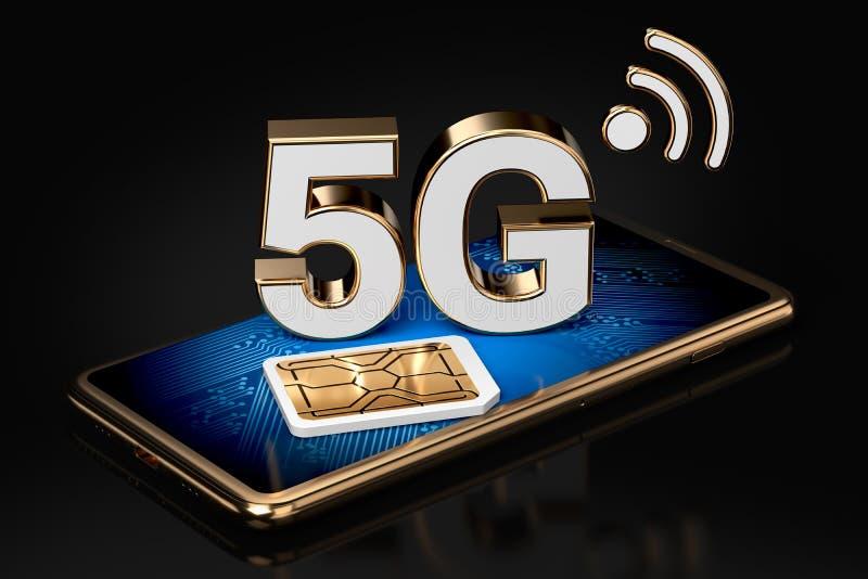 5G在智能手机屏幕上的标志有在它旁边的sim卡片的 查出在黑色背景 高速流动网技术 3d 库存例证