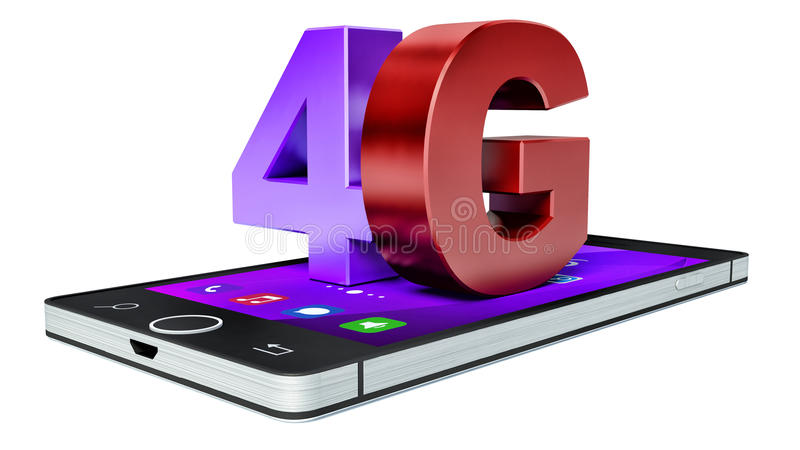 4G在智能手机的无线通讯技术标志 库存例证