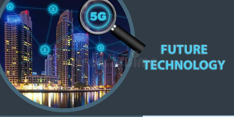 5G手机连通性、无线和互联网网络的下一代网络与最快速度连接 免版税图库摄影