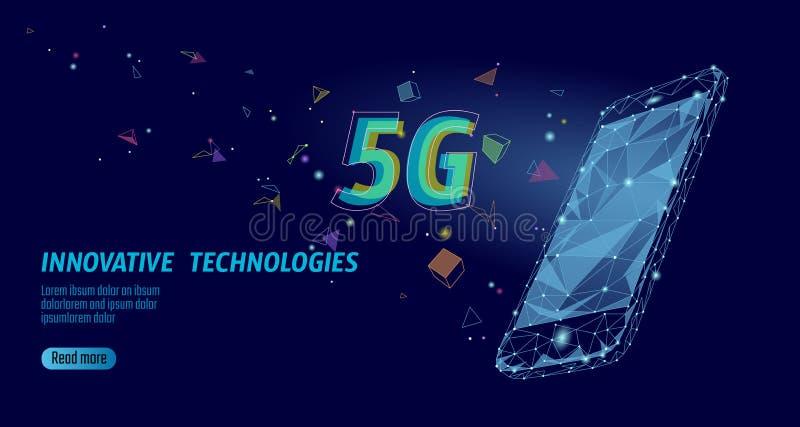 5G新的无线互联网wifi连接 平膝上型计算机移动设备等量的蓝色3d 全球网络高速 皇族释放例证