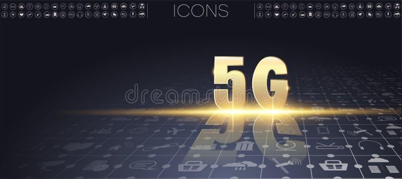 5G新的无线互联网wifi连接 皇族释放例证