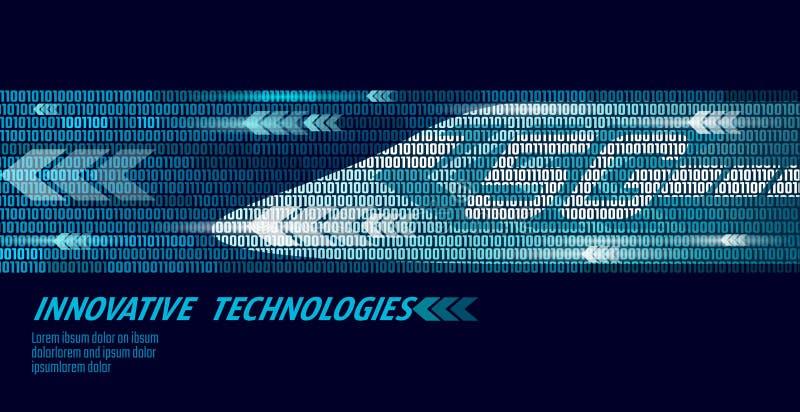 5G新的高速路轨无线互联网wifi概念 全球性快速的更高的铁路火车 二进制编码黑暗的流速 库存例证