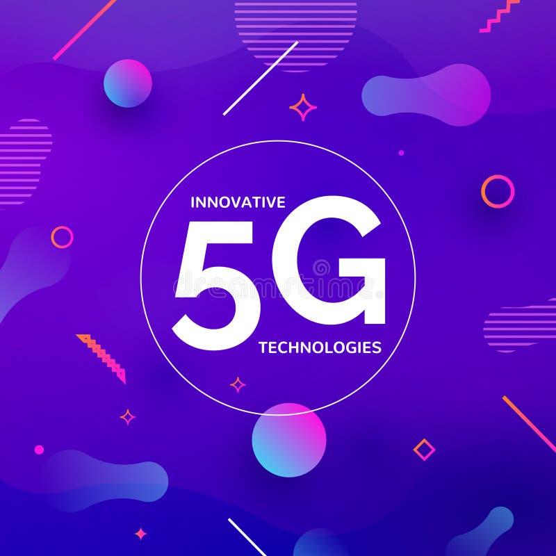 5G无线互联网连接网络背景 高速5g数据通信的手机概念 向量例证