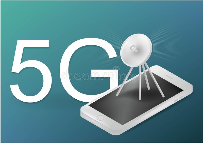 5G无线喂速度互联网的通讯台 在城市生活概念的流动网络技术 LTE空中连接与 皇族释放例证