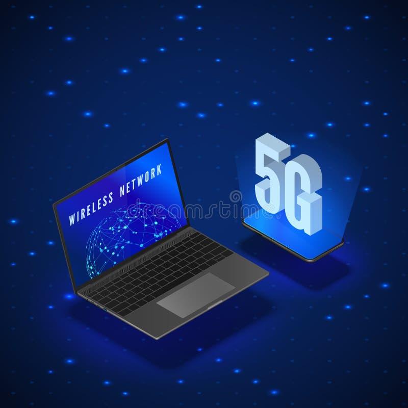 5G无线网络系统 流动互联网技术 膝上型计算机和电话等量横幅5G网络技术 ?? 库存例证