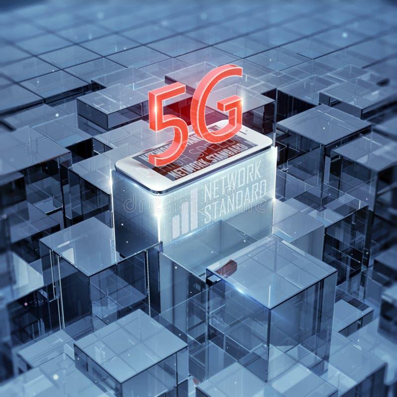 5G智能手机和文本,标志,多孔的高速数据无线连接摘要玻璃背景3d回报 皇族释放例证