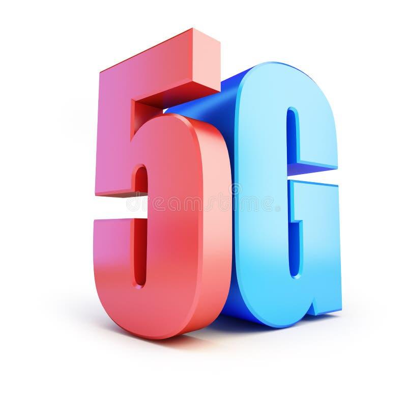 5G标志, 5G多孔的高速数据无线连接 3D例证 库存例证
