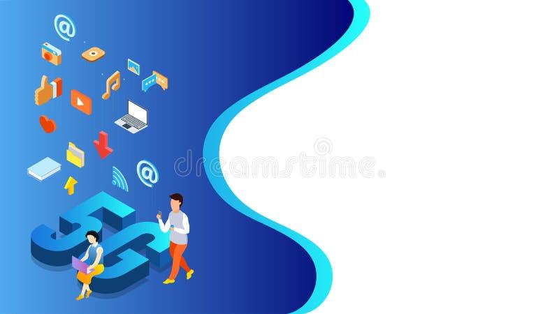 5G网络互联网数据服务概念,3d文本与使用象作为喜爱,录影的社会媒介用户的5G网站,照片和 库存例证
