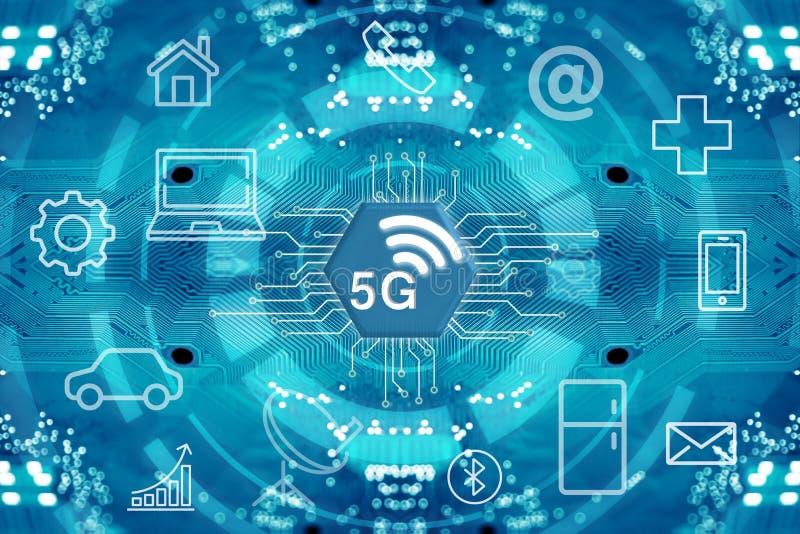 5G网络无线系统和互联网 免版税库存图片