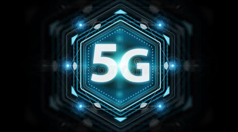 5G网络界面3D翻译 皇族释放例证