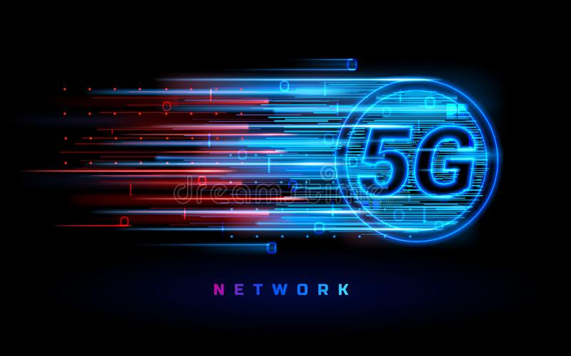 5g ασύρματη σύνδεση για το έμβλημα τεχνολογίας διανυσματική απεικόνιση