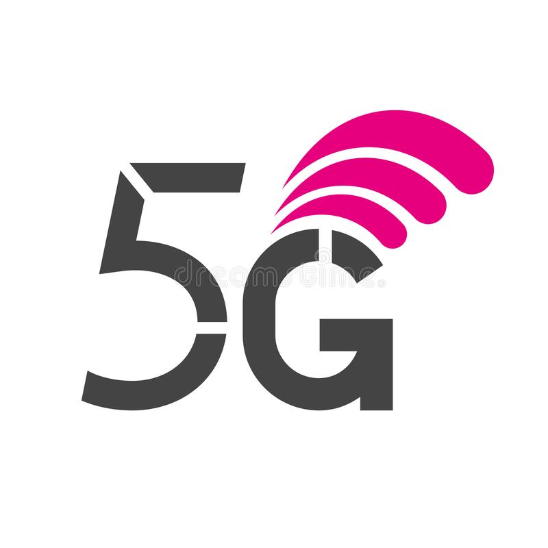 5G ασύρματα συστήματα δικτύων και διανυσματική απεικόνιση Διαδικτύου Δίκτυο επικοινωνίας Έμβλημα επιχειρησιακής έννοιας 10 eps απεικόνιση αποθεμάτων